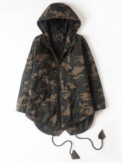 Drawstring High Low Hem Camo Hooded Jacket - Camouflage Xl