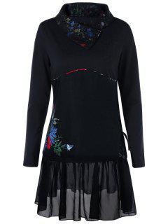Plus Size Lace Trim Long Sleeve Shift Dress - Black 5xl