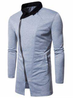 Turndown Collar Asymmetrical Zip Panel Coat - Light Gray M
