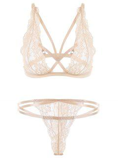 Unlined Strappy Lace Thong Bra Set - Champagne L