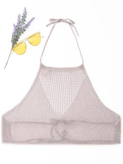 Shiny Crochet Cover-up - Pale Pinkish Grey