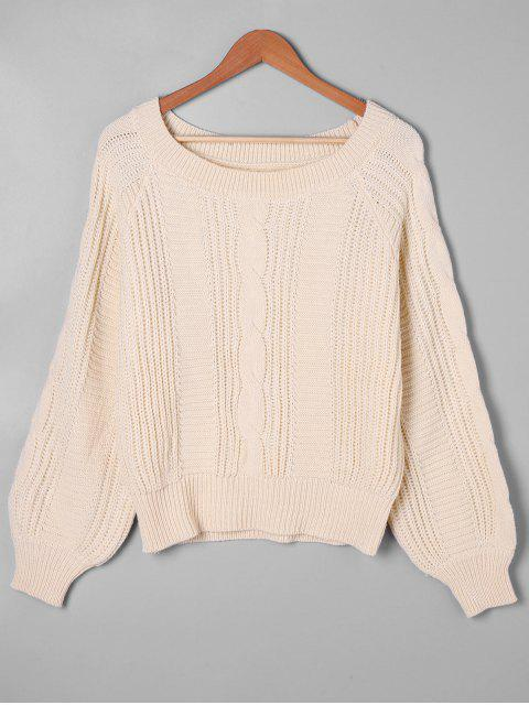 sale Balloon Sleeve Cable Knit Sweater - APRICOT XL Mobile