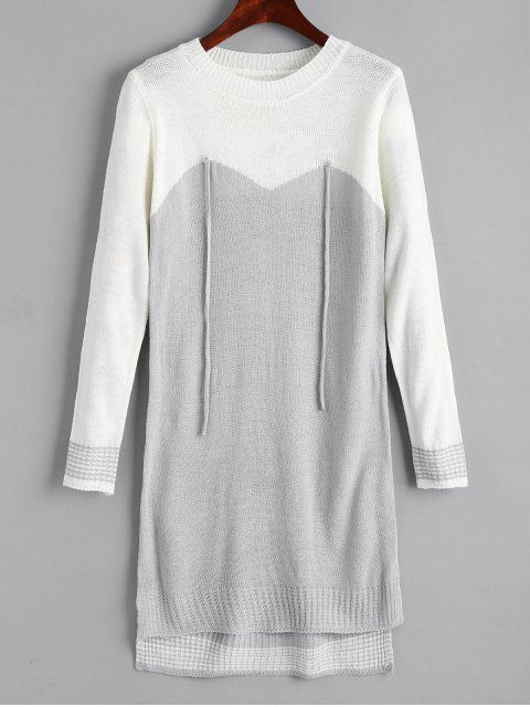 outfits High Low Two Tone Sweater Dress - GREY AND WHITE ONE SIZE Mobile