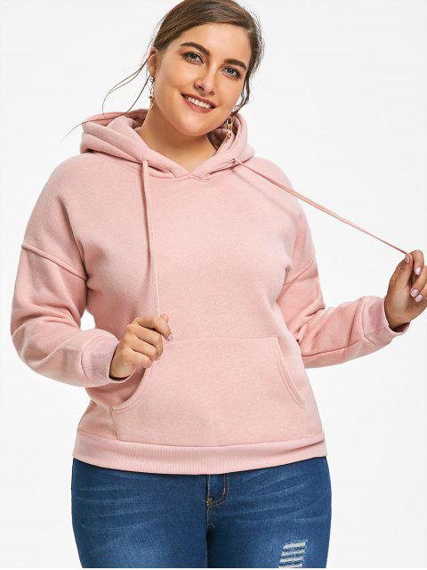 buy Kangaroo Pocket Flocking Plus Size Hoodie - SHALLOW PINK 3XL Mobile