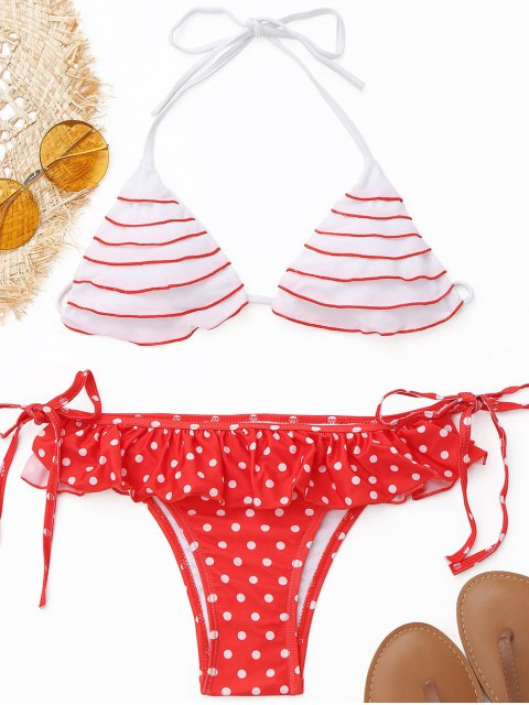 affordable Frilled Polka Dot String Bikini Set - RED WITH WHITE S Mobile