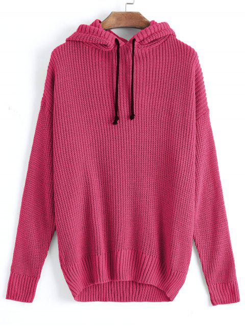 shops Oversized Hooded Pullover Sweater - ROSE RED ONE SIZE Mobile
