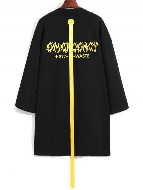 Abrigo Largo de Cinta Embellecida - Negro XL Mobile
