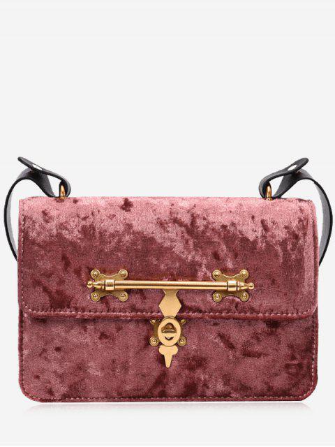 shop Metal Embellishment Crossbody Bag - PINK  Mobile