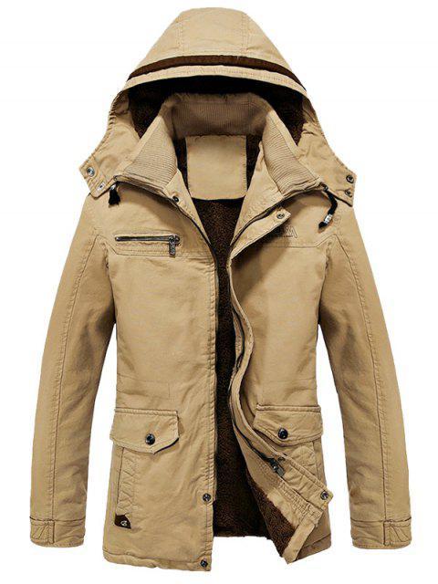 Chaqueta con forro de lana con capucha y cuello doble - Caqui 2XL Mobile