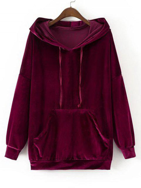outfits Oversized Crushed Velvet Hoodie - PURPLISH RED M Mobile