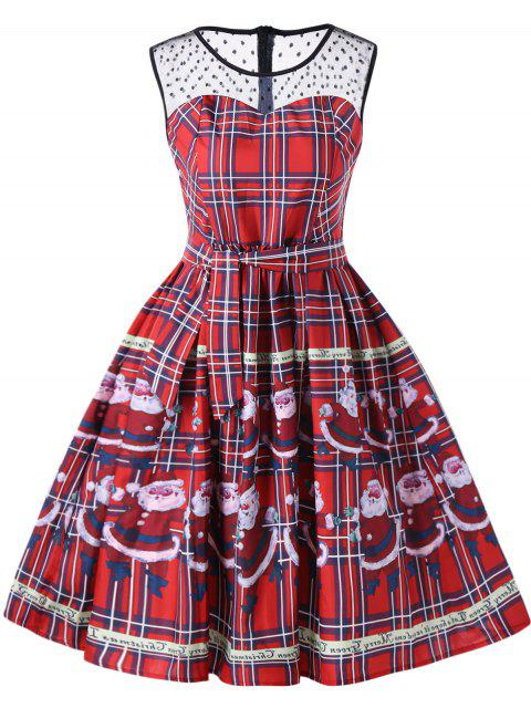 Weihnachtsmann Plaid Sheer Swing Kleid - Rot 2XL Mobile