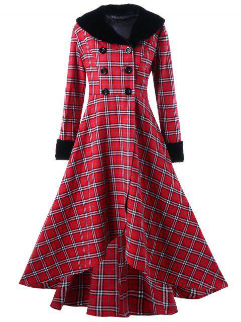 Manteau Trapèze Grande Taille à Double Bouotnnage à Carreaux - Rouge 5XL Mobile