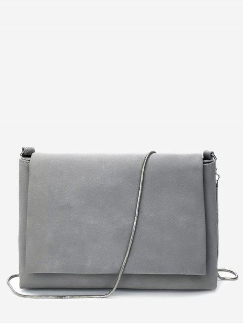 outfit Solid Chain Flap Crossbody Bag - GRAY  Mobile
