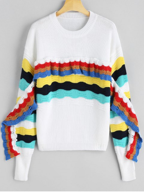 unique Frilled Color Block Crew Neck Sweater - WHITE ONE SIZE Mobile