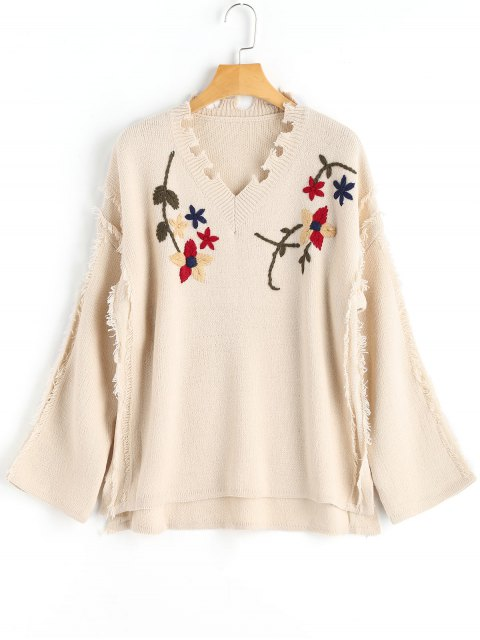 ladies Floral Distressed Sweater - APRICOT ONE SIZE Mobile