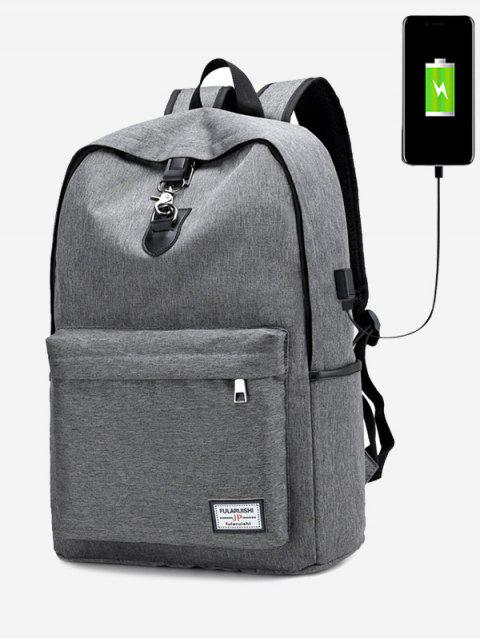 shop USB Charging Port Metal Backpack - GRAY  Mobile