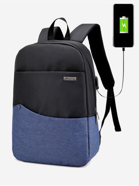 best Rivet Color Block USB Charging Port Backpack -   Mobile