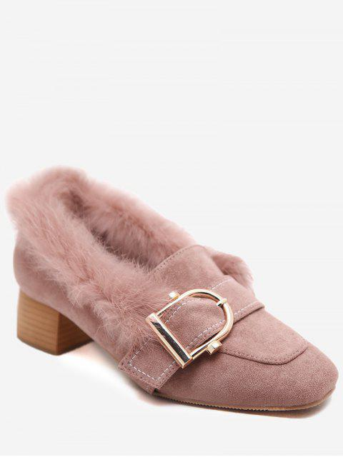 chic Buckled Faux Fur Trim Suede Pumps - PINK 36 Mobile