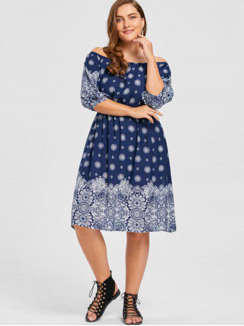 buy Plus Size Floral Off The Shoulder Bohemian Dress - PURPLISH BLUE 5XL Mobile