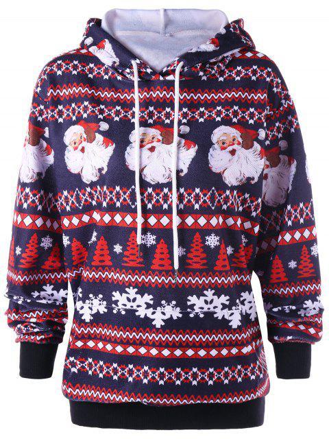 fancy Christmas Plus Size Drawstring Neck Hoodie - COLORMIX XL Mobile