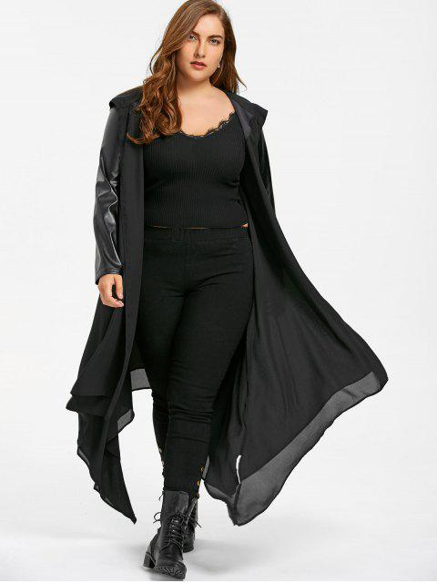 unique PU Leather Trim Hooded Duster Coat - BLACK 2XL Mobile