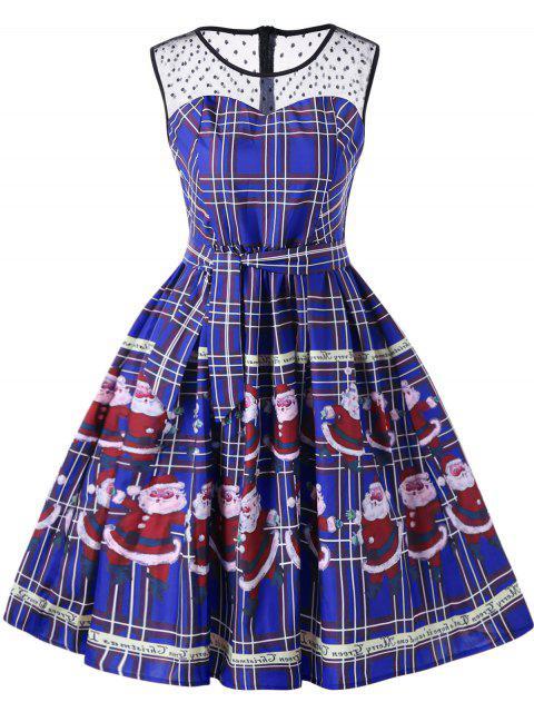 shops Christmas Santa Claus Sheer Swing Dress - BLUE M Mobile