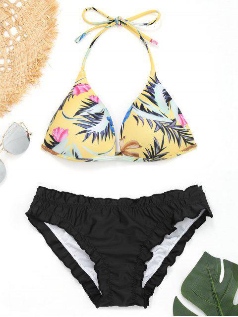 Bikini Push-Up à Volants avec Imprimé Feuilles - Noir S Mobile