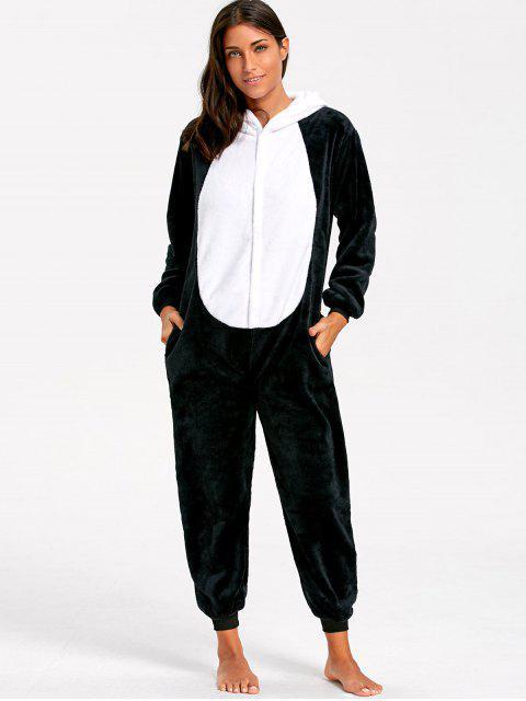 shop Cute Panda Animal Onesie Pajamas - BLACK WHITE S Mobile