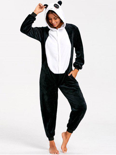 trendy Cute Panda Animal Onesie Pajamas - BLACK WHITE XL Mobile