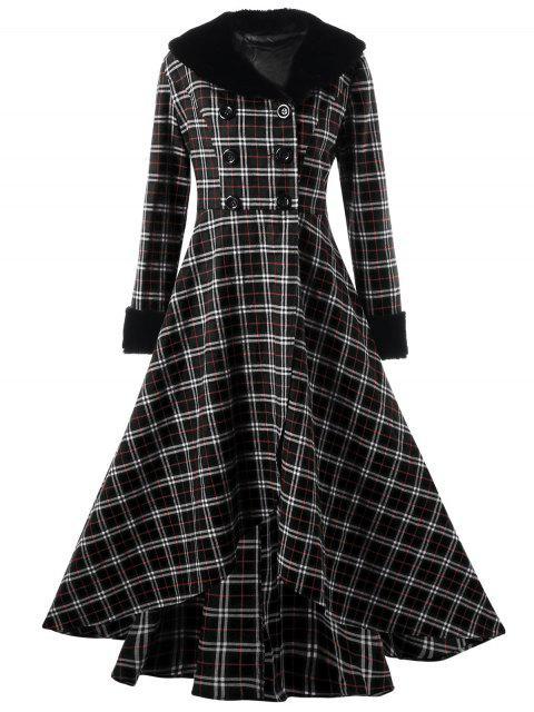 Manteau Trapèze Grande Taille à Double Bouotnnage à Carreaux - Noir 3XL Mobile
