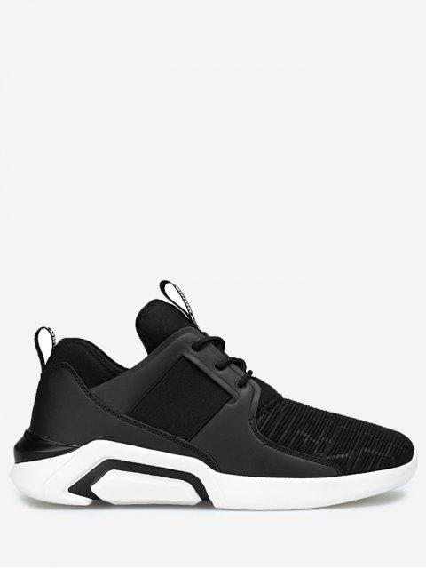 unique Elastic Vamp Low Top Athletic Shoes - BLACK 42 Mobile