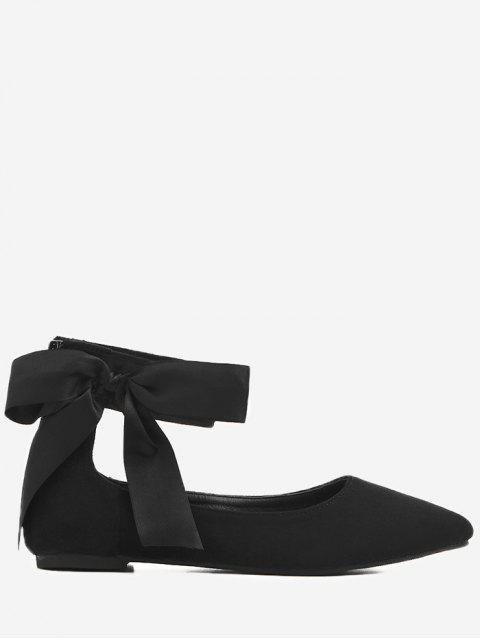 Bowknot Ribbon Point Toe Tobillo Abrigo Flats - Negro 37 Mobile