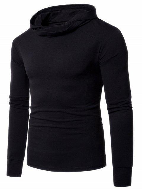 T-shirt Longues Manches à Capuche et Col Entassé - Noir L Mobile