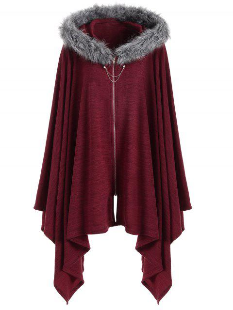 Asymmetrischer Kunstpelz Panel Plus Size Cape Mantel - Weinrot 4XL Mobile