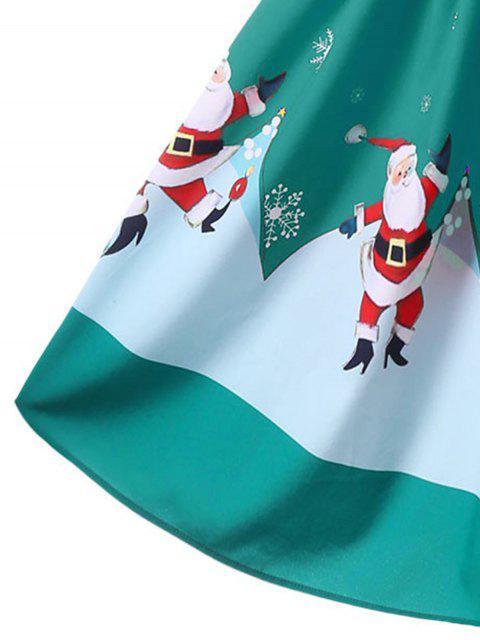 Vestido sin mangas con hombros descubiertos de Navidad - Verde L Mobile