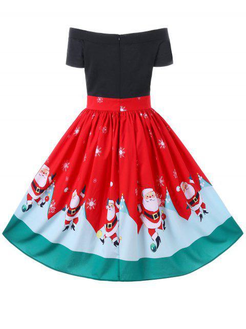 Vestido sin mangas con hombros descubiertos de Navidad - Rojo L Mobile