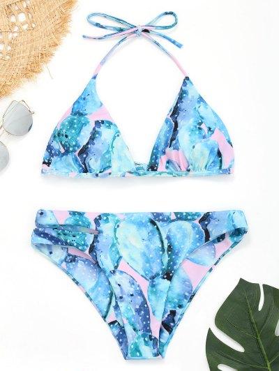 Zaful Cut Out Halter Cactus Bikini
