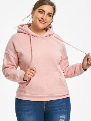 Kangaroo Pocket Flocking Plus Size Hoodie