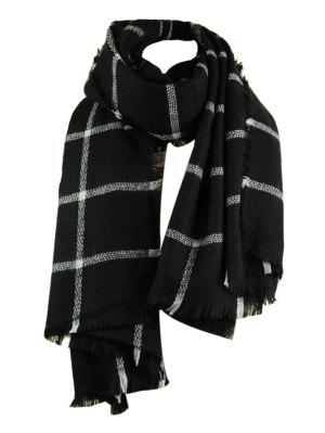 Checked Pattern Artificial Wool Fringed Shawl Scarf