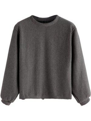 Lantern Sleeve Ribbed Sweatshirt