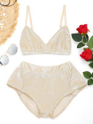 High Waist Velvet Bra Set