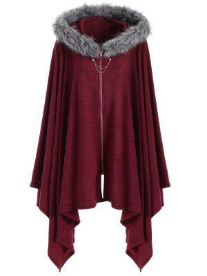 Asymmetric Faux Fur Panel Plus Size Cape Coat