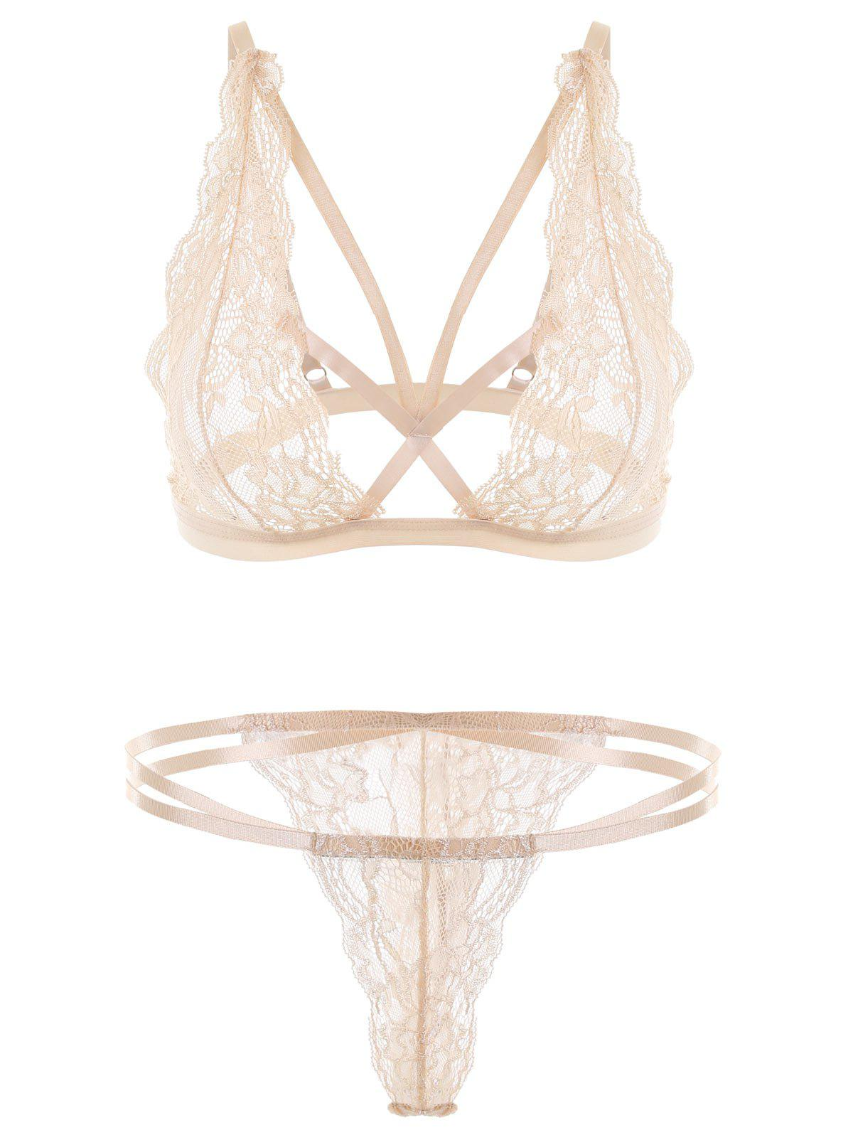 Unlined Strappy Lace Thong Bra Set 233551002