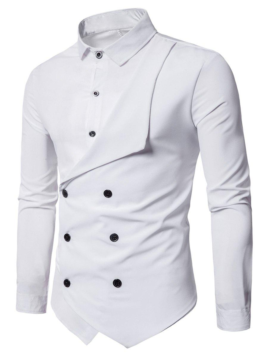 Double Breasted Long Sleeve Layered Shirt 233188402