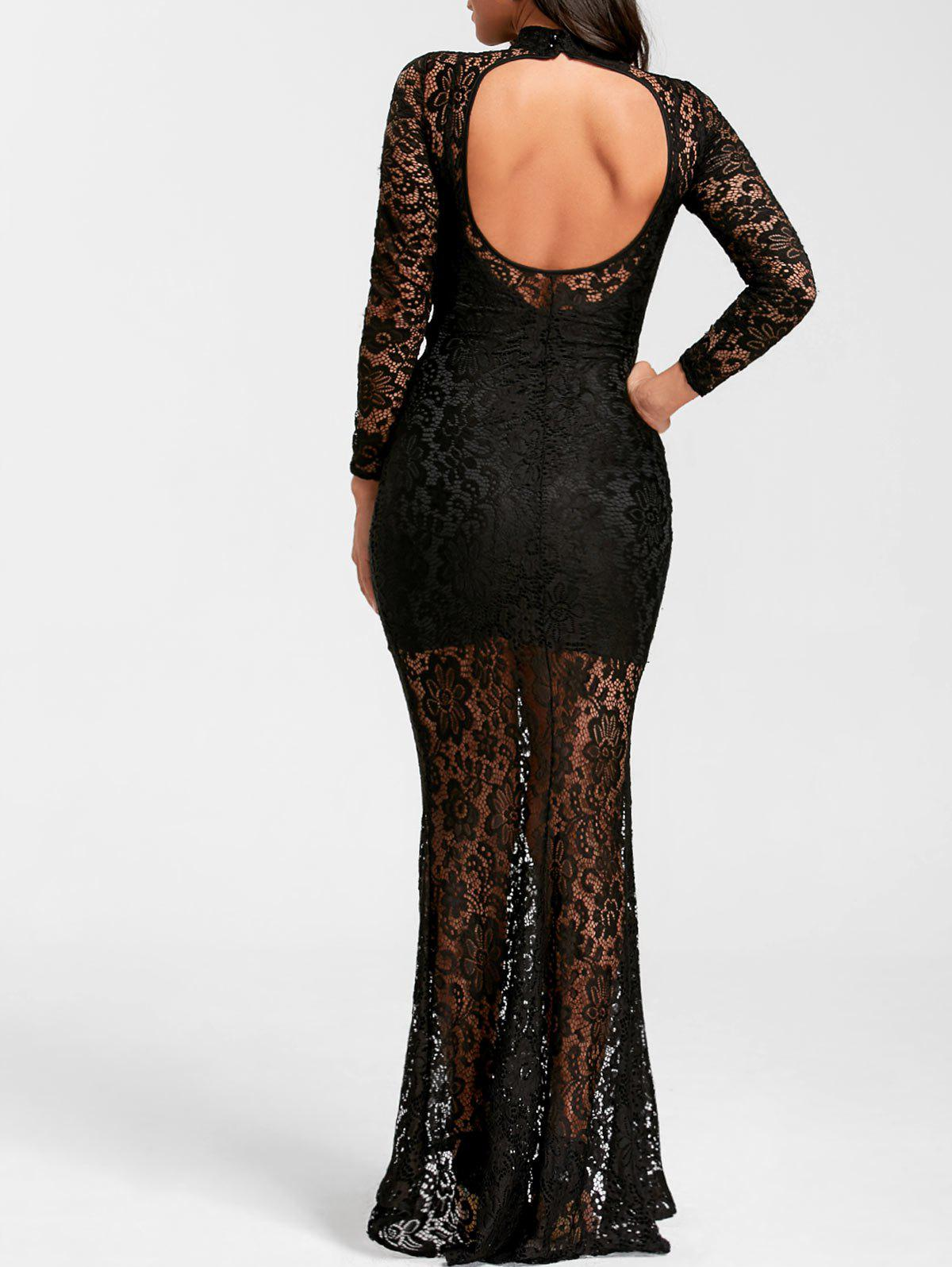 Mock Neck Open Back Lace Prom Dress 231501405