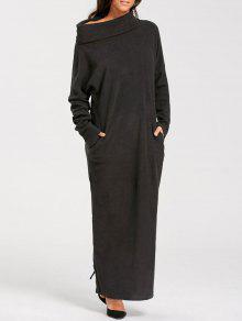 كم طويل الطابق طول اللباس المدورة جيب - أسود S