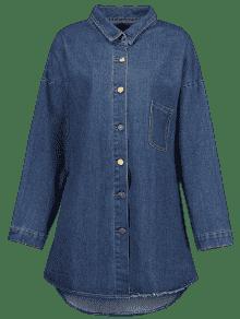 eb2cdf55435 32% OFF  2019 Graphic Plus Size Denim Coat In DENIM BLUE 3XL