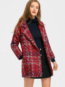 معطف تويد تصميم الزر مع جيوب - أحمر L