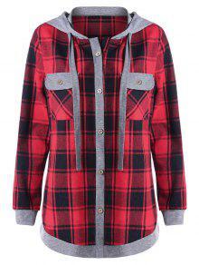 زائد حجم منقوشة طويلة الأكمام هودي مع جيوب - أحمر 4xl