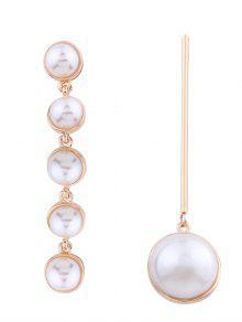 Pendientes Asimétricos De Imitación De Perlas - Dorado